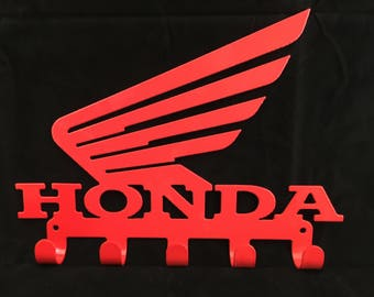 HONDA Wings logo Key Rack CNC Plasma cut & powder coated with choice of colours and style