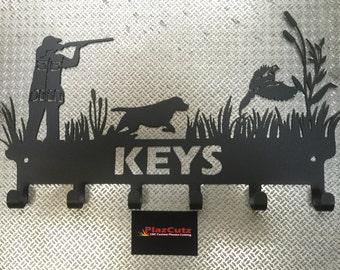 Pheasant & Labrador Dog Shooting or Hunting Scene Key Holder Rack CNC Plasma Cut and Powder Coated in Textured Black