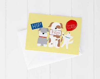 Colourful greeting card, congratulations, birthday, anniversary, hip hip hooray, cute dogs