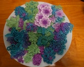 12 Pcs. Hand Painted and dyed lace Flowers For Crazy Quilting, scrap booking, junk journal Embellishments Peacock Colors