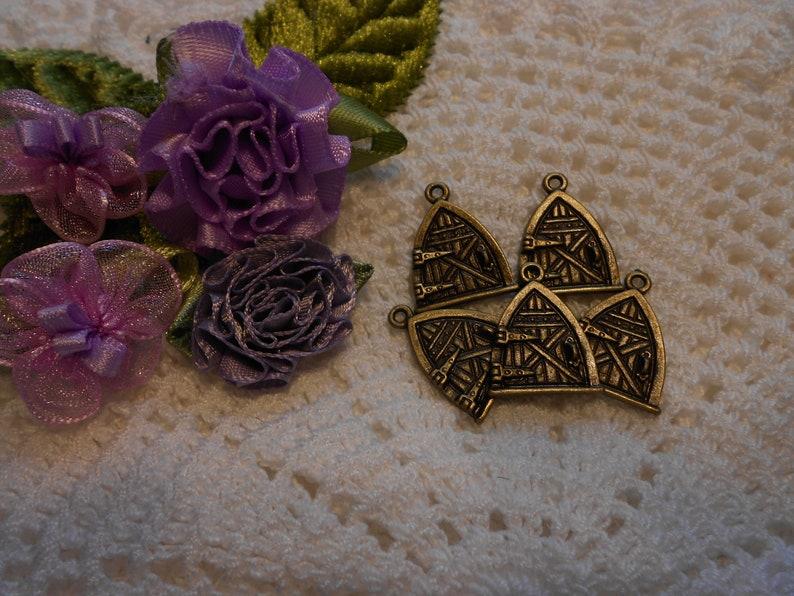 5 Bronze tone Fairy Door Charms  34 inch