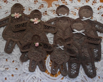 Hand Dyed Battenburg Lace Gingerbread People