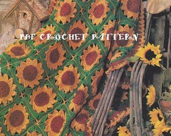 Crochet Sunflower Motif Afghan Pattern #KC0708, Intermediate Skill Level, Crochet PDF Pattern