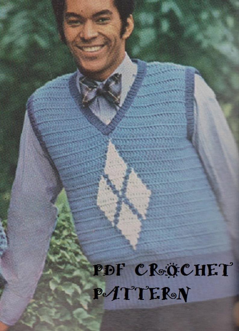 8942cc2e65d Crochet Mens Argyle Vest Pullover Pattern #KC0374, Intermediate Skill  Level, Crochet PDF Digital Pattern