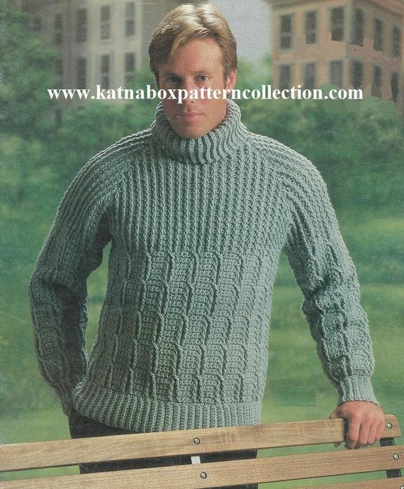 Crochet Mens Mock Cable Raglan Pullover Sweater Pattern Etsy