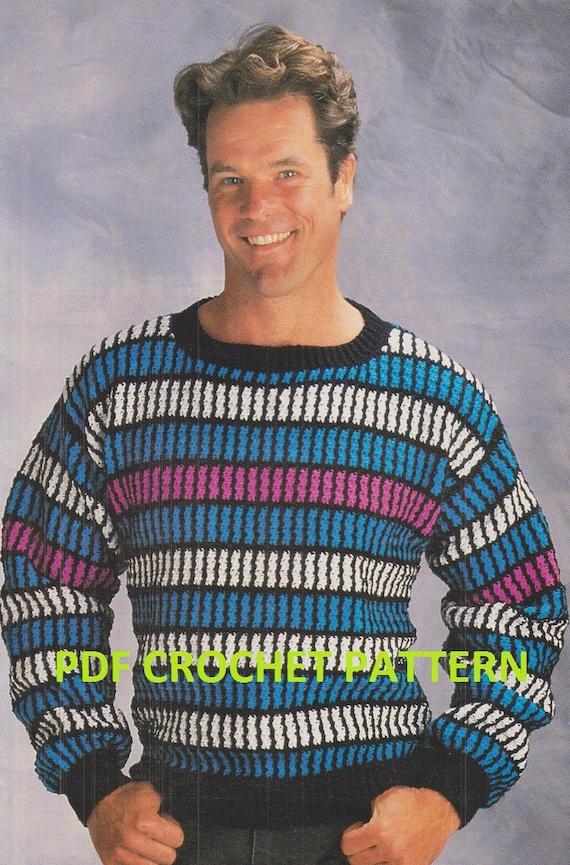 Crochet Mens Sweater Pattern Kc0467 Intermediate Skill Etsy