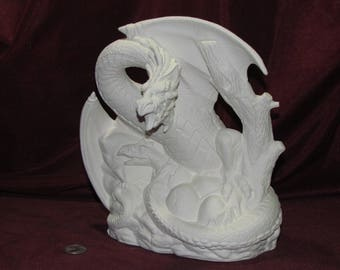 Large Maiden Petting Dragon Ready to Paint Unpainted Ceramic Bisque