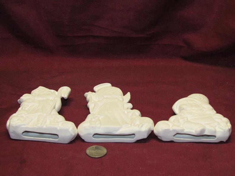 Ceramic Bisque U-Paint Set Of 3 Shepherd Angel Christmas Ornaments Unpainted Ready To Paint DIY Angel Ornament