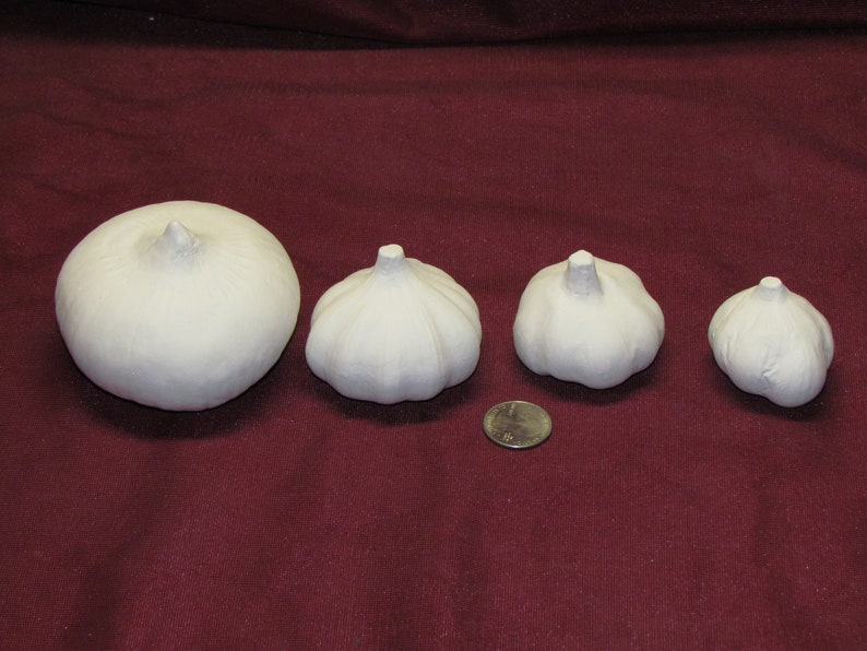 Ceramic Bisque U-Paint 1 Onion and 3 Garlic Cloves Unpainted Ready To Paint DIY Vegetable