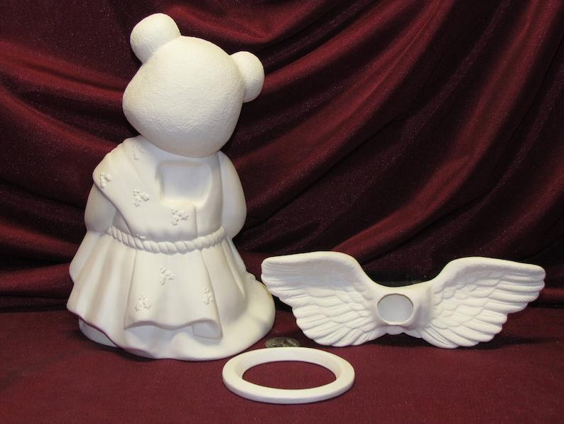 Ceramic Bisque Teddy Bear Angel Boy Ready to Paint U-Paint DIY Unpainted