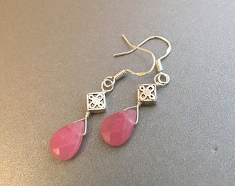 Pink Quartz Earrings, Faceted Rose Quartz Teardrop Earrings, Dainty Pink Gemstone Dangle Silver Earrings, Mothers Gift, Girlfriend Gift