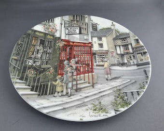 Royal Doulton collectible plate - The Book Shop 1990, part of the 'Window Shopping' series