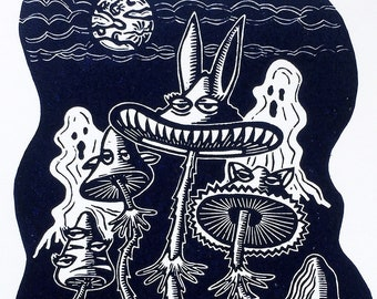 Art print MAGIC MUSHROOM CLUB linocut   Original handcarved linoprint   Limited edition print   Halloween fall fantasy   Nulzet