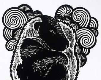 Art print BABYSKUNK linocut   Original handcarved linoprint   Limited edition cat   baby skunk tail black and white   Nulzet