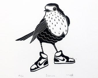 Art print SIDEKICK linocut   Original handcarved linoprint   Limited edition featuring a bird robin with sneakers Nike Jordan   Nulzet