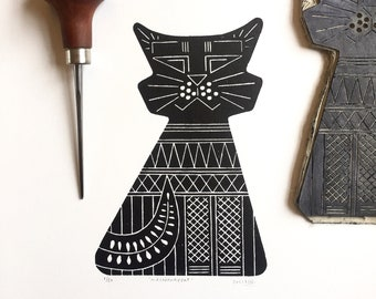 Art print MID CENTURY CAT linocut   Original handcarved linoprint   Limited edition cat   Nulzet