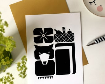 Postcard WOLTER wolf | Forest animal with his favourite snack | Little red riding hood picknick nature black and white wall art illustration