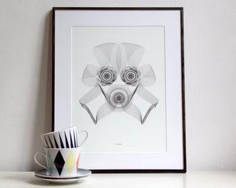 Art print Strooper spirograph illustration black and white wall art | ribbon face Star Wars stormtrooper C-3PO science fiction