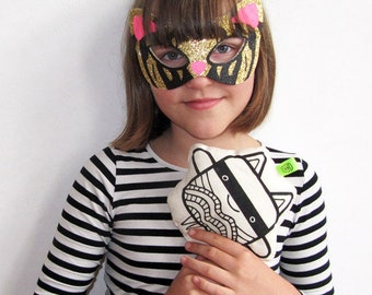 Fabric toyKitty Lee & Star two front sides black and white plushie  | superhero mask | starman | kids | cuddly toy