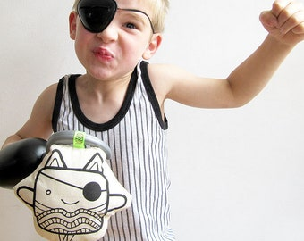 Fabric toy Kitty Jack & Kiss black and white with TWO FRONT SIDES | Kiss band mask make-up | pirate eyepatch