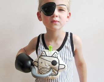 Fabric toy Kitty Jack & Kitty Wave black and white  with TWO FRONT SIDES | pirate mask | new wave hairdo | new romantic | plushie