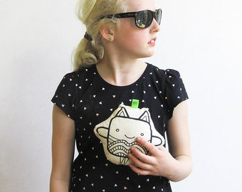 Fabric toy Kitty Cute & Kitty Lee black and white with TWO FRONT SIDES | superhero mask | cute cuddly plush | kids