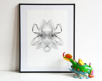 Art print LIONESS Spirograph Faces   Limited edition   Black and white wall art   Leo cat zodiac sign   Birthday gift   Nulzet
