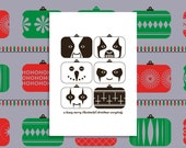Christmas card BLACK METAL CHRISTMAS A friendly play on the painted faces in the black metal scene modern art print