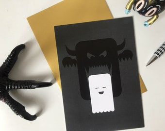 Postcard BOO! the happy ghost | Happy Halloween scary monster | Trick or treat | Invitation to a scary themed party