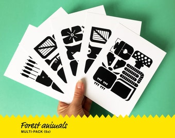 Cards MULTI-PACK Forest Animals   beaver badger raccoon squirrel wolf   cute greeting card invitation   graphic design   Studio Nulzet