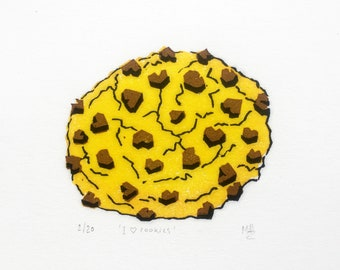 Art print I HEART COOKIES linocut   Original handcarved linoprint   Limited edition featuring a cookie with chocolate chip hearts   Nulzet