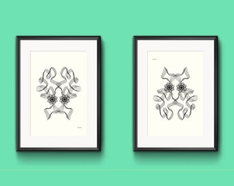 Art print OCTOPOOCH upsidedown Spirograph Faces   Limited Edition   wall art   Geometric octopus pooch animal ribbon face    Nulzet