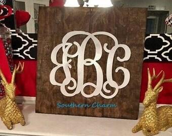 Monogram Rustic Wood Plank Sign - Farmhouse Decor - Farmhouse Monogram Sign - Shiplap Monogram Sign - Wedding- Anniversary- Housewarming