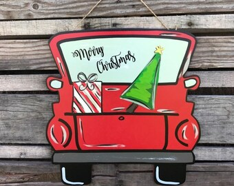 Christmas Door Hanger, Merry Christmas, Christmas Truck, Door Hanger, Wooden Door Hanger, Christmas Door Sign, Christmas Door Decor