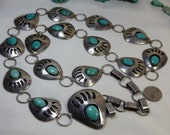 Large 38 quot Long 210gm NAVAJO handmade Natural FOX mine Turquoise STERLING Silver Bear Paw Totem Concho Belt.