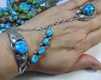 Superior NAVAJO Herman Henry SLEEPING BEAUTY Turquoise Sterling Silver 52gm Slave Bracelet Ring sz8.5 Signed