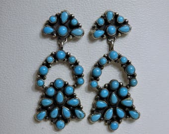 "NAVAJO Arizona Sleeping Beauty TURQUOISE Clusters STERLING Silver 2.25"" Long Post Earrings by D.Ashley"