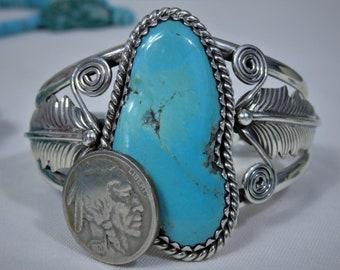 Big 49G NAVAJO Signed Nocazari TURQUOISE STERLING Silver Squash Blossom Cuff Bracelet