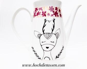 Coffee pot vintage, roe deer, vintage, boho, retro, high diecups, high the cups