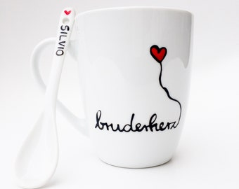 Brother Heart Cup, Coffee Mug, Coffee Mug, Brother Gift, Brother Cup, Brother Gift, With or Without Spoon