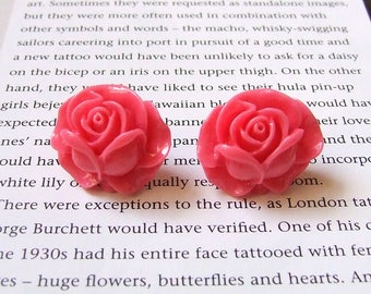 Vintage Pink Rose Stud Earrings - pin up, pink roses, flower earrings, post, studs, floral, jewellery