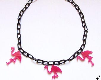 Flamingo Necklace - 40s 50s inspired flamingos on black plastic chain necklace, kitsch, vintage bakelite inspired,