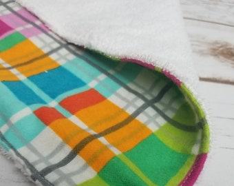 Rainbow plaid flannel and terry cloth burp cloth