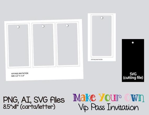 Vip pass invitation template collage sheet template digital