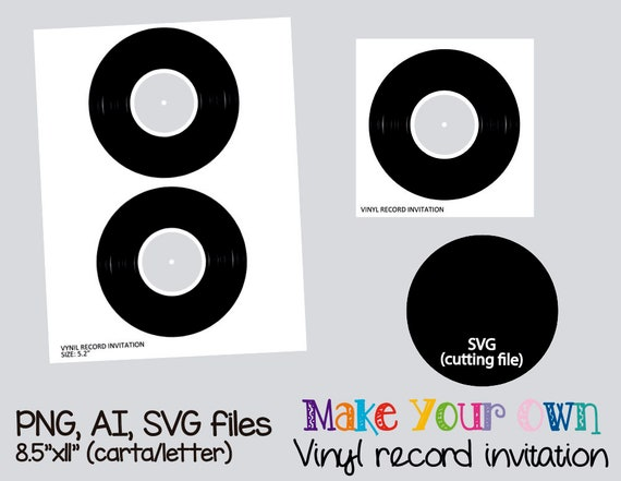 Vinyl Record Invitation Template Collage Sheet Template Etsy