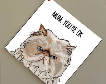 Mum, You're OK' Exotic Cat Valentines Day Card