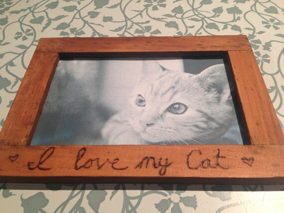 Personalized I Love My Cat Kitten Pet Custom Photo Picture Frame