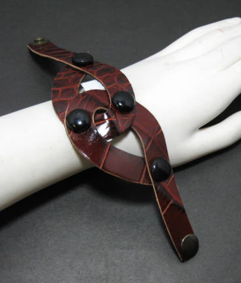 in Brown Croc Print Genuine Leather Loop Wrist Band with Snap Closure and Black Covered Buttons