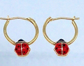 ff8b5ad236162 14k ladybug earrings | Etsy
