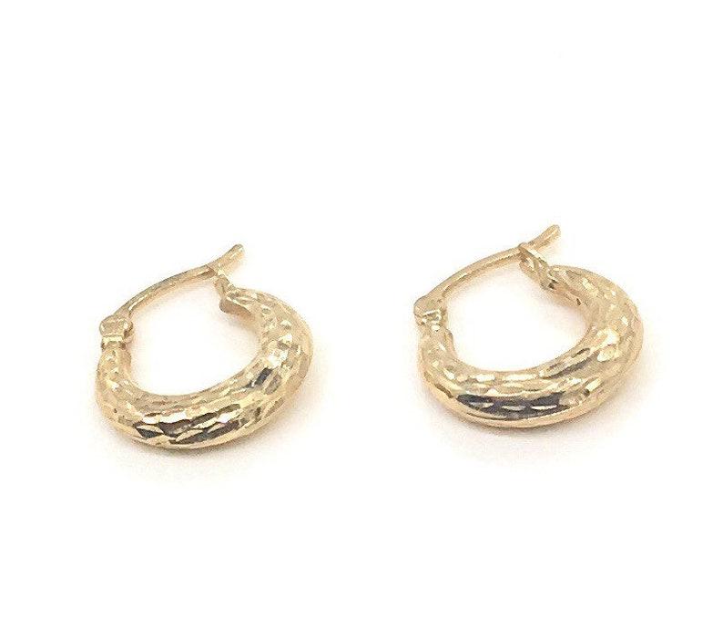 Vintage Solid 14k Gold Pounded Hoop Earrings Ez